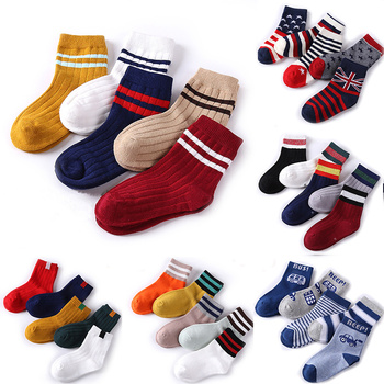 Baby Boy Socks 5 Pairs Children Autumn Winter Cartoon Socks for Girls Kids for Girls To School Sport Baby Girl Clothes Striped