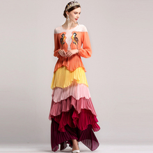 RED ROOSAROSEE 2018 Maxi Dress Women Spring Summer Fashion Long Dress Blue Elegant Appliques Loose Robes Casual High Quality