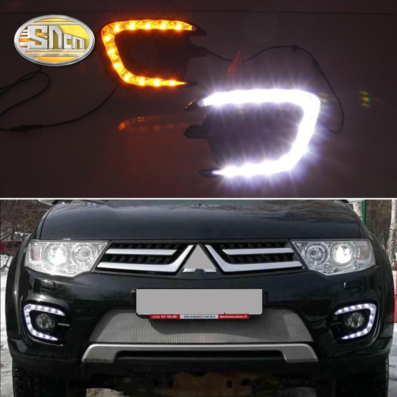 SNCN LED Daytime Running Lights for Mitsubishi Pajero Sport 2013 2014 2015 Fog lamp cover 12V ABS DRL Mitsubishi Pajero