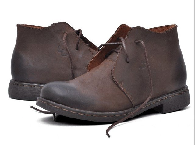 Qiu dong trend of men's shoes. Do old high boots for each to keep warm. Leather shoes crazy horse leather male boots