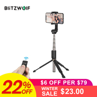 InStock BlitzWolf 3 in 1 Selfie Stick Phone Tripod Extendable Monopod with Bluetooth Remote for iPhone X for Samsung Smartphone