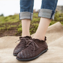Genuine leather handmade women's shoes spring and autumn single shoes vintage knitted women's lacing shoes low-top shoes