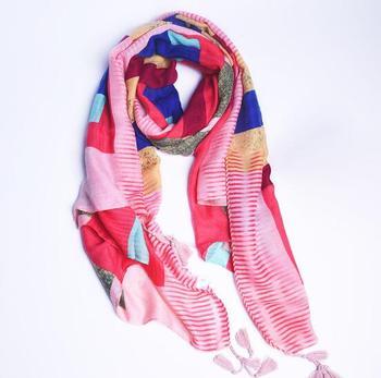 Women fashion colorful plaid cotton silk soft tassel scarf