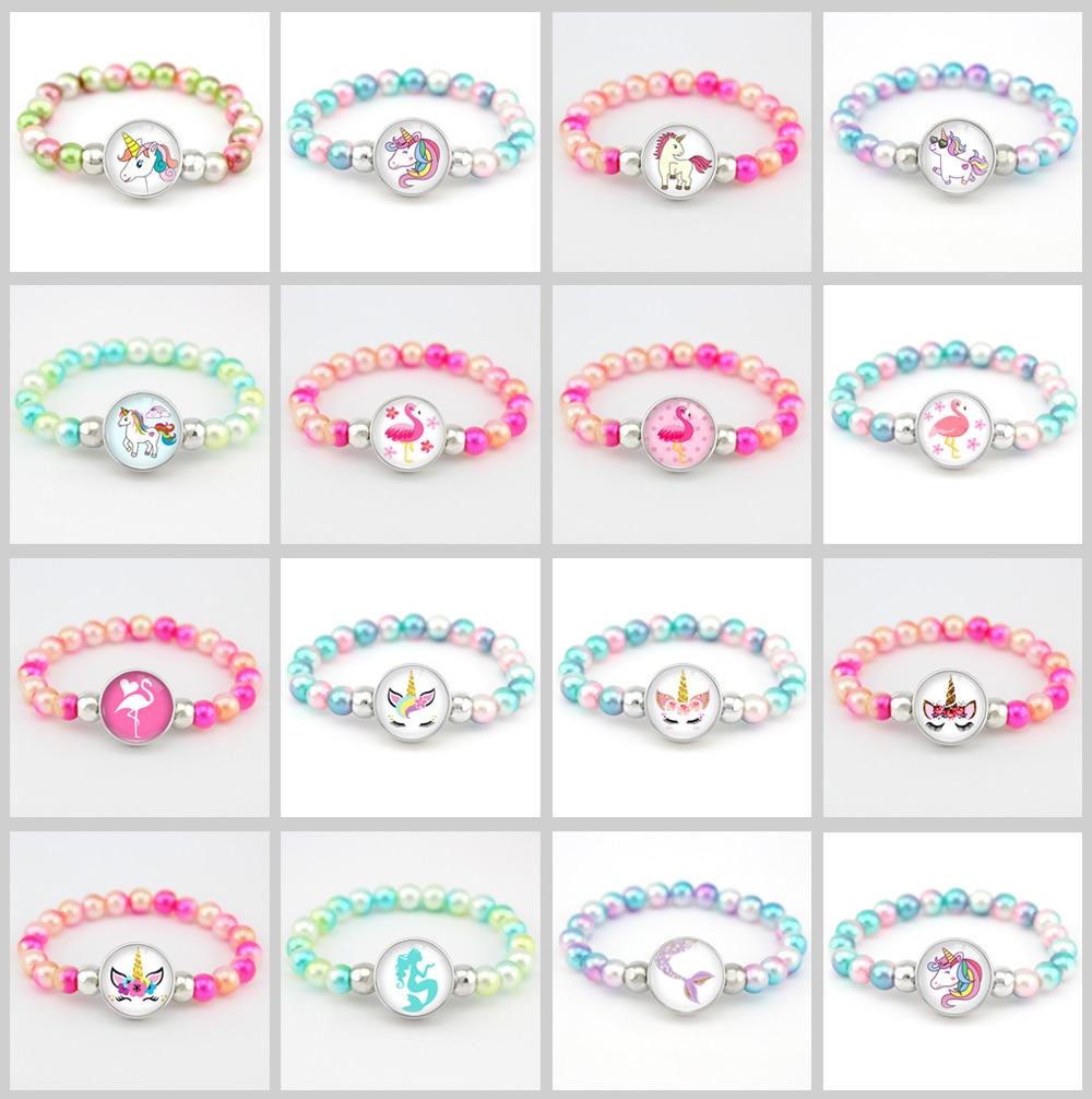 Бусины в виде единорога, браслеты 18 мм, застежка-держатель, пуговицы, купольный кабошон, фламинго, амулеты, трендовые браслеты для девочек, женщин, мальчиков, ювелирное изделие, подарок