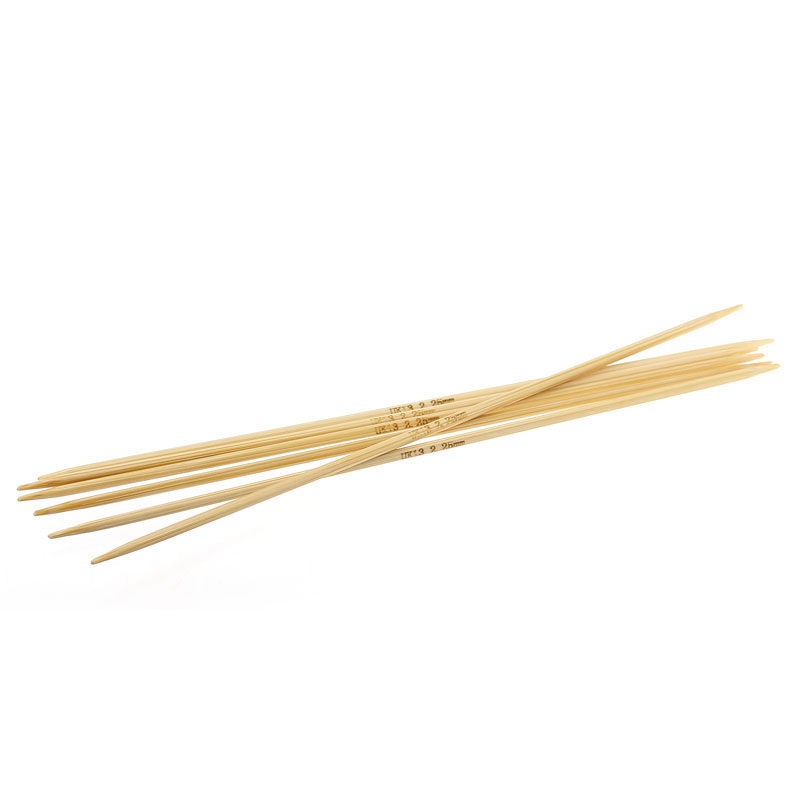 Bamboo Knitting Needles Natural Double Pointed UK13 2.25mm,15cm Long,5PCs New