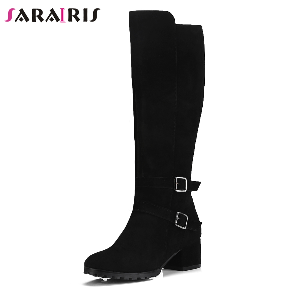 SARAIRIS New Black Wide Med Heels 5cm Belt Buckle Round Toe Shoes Woman Cow Suede Casual Winter Mid Calf Boots Large Size 34-40SARAIRIS New Black Wide Med Heels 5cm Belt Buckle Round Toe Shoes Woman Cow Suede Casual Winter Mid Calf Boots Large Size 34-40