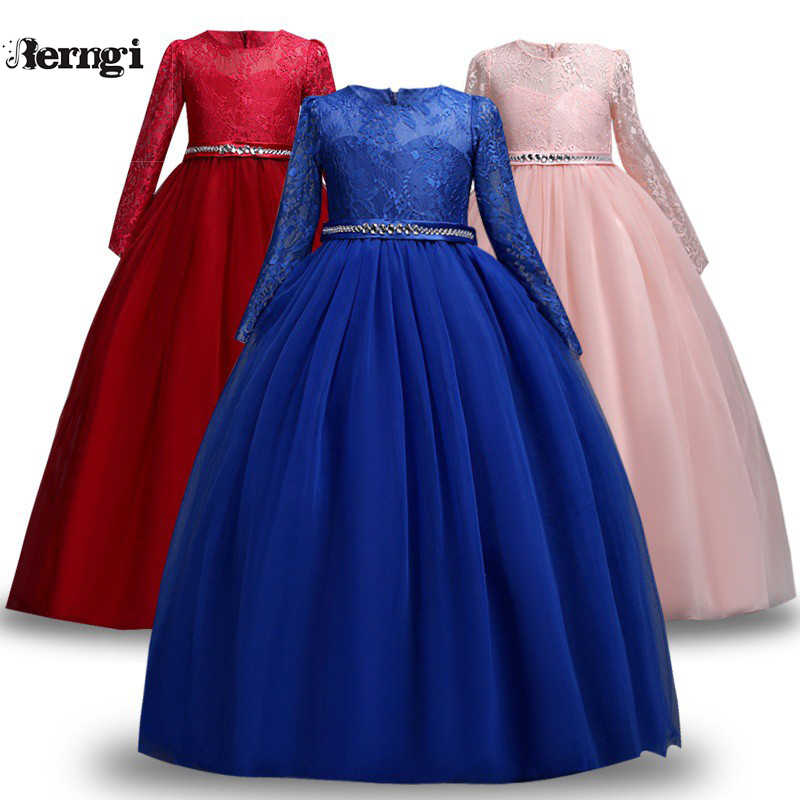 Girl Kids Lace Bridesmaid Maxi Full Dress Party Princess Lace Embroidery Dresses