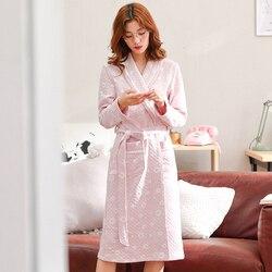 Plus größe robe frauen quilted bademantel winter robe frauen hause kleidung nachtwäsche baumwolle peignoir femme dessous bad robe badjas