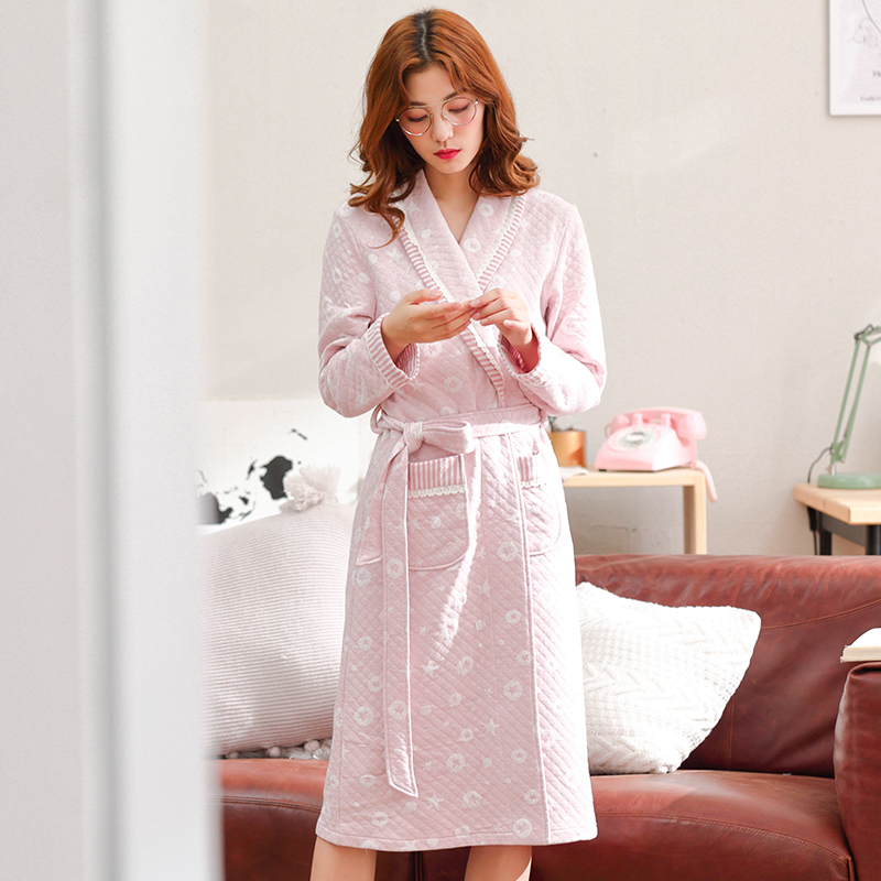 Plus Size Robe Women's Quilted Bathrobe Winter Robe Women Home Clothes Sleepwear Cotton Peignoir Femme Lingerie Bath Robe Badjas