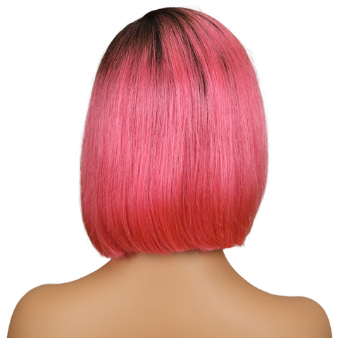 SLEEK Silky Straight Short Bob Lace Front Human Hair Wigs For Women Two Tone 2/Pink Color Middle Part Ombre Part Lace Wig Islamabad