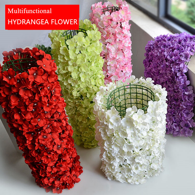 Artificial silk hydrangea flower wall for wedding backdrop lawn artificial silk hydrangea flower wall for wedding backdrop lawnpillar road lead decoration 6040 cm 10 pclot in artificial dried flowers from home mightylinksfo