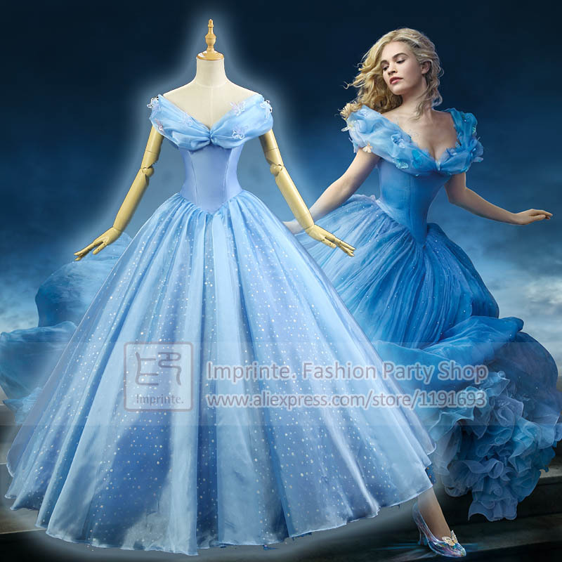 New 2015 Movie Adult Cinderella Costumes Deluxe Ball Gown ...