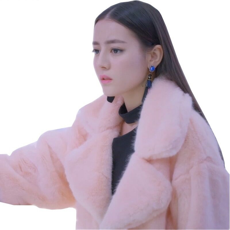 Plus Size Winter Women's Long Cotton Coats New Faux Mink Fur Jacket Thicken Plush Female Parka Hairy Fluffy Warm Ladies Overcoat