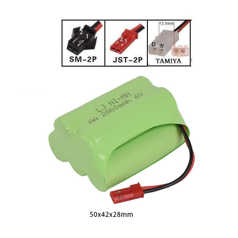 LEKYLUKY 6v 2800mah T-style High capacity AA NI-MH rechargeble Battery for electric toys ...