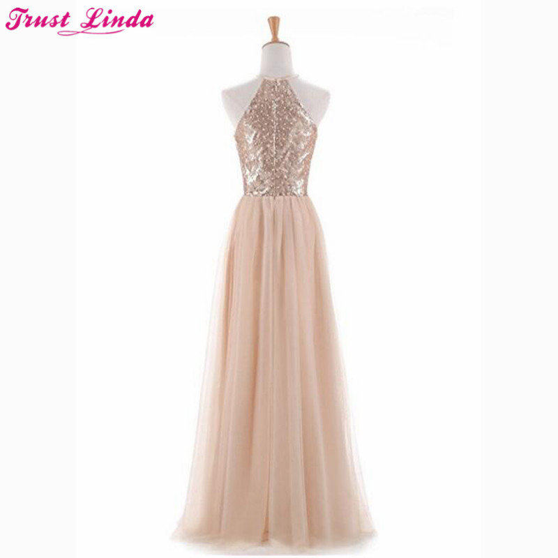 cb497b8abcce7 US $102.5 18% OFF|Aliexpress.com : Buy 2018 New Sexy Open Halter Champagne  Bridesmaid Dresses Cheap Sequined Wedding Party Dresses Long Tulle Bridal  ...
