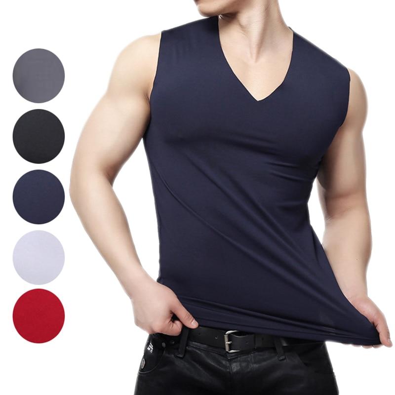 Men Solid Seamless Underwear Vest Slim Fit V-neck Comfortable Winter Warm Undershirt Tops -MX8