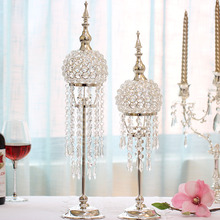 High End Europe Silver-plated Candlestick Wedding Table Centerpiece Decoration Candlestand Modern Fashion Crystal Candle Holders