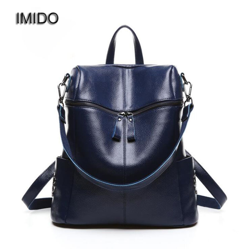 IMIDO 2017 High Quality cow genuine leather backpacks women shoulder bags travel female backpack black mochila feminina SLD014 dikizfly new european and american style backpacks women high quality genuine leather backpack travel bags fashion mochila