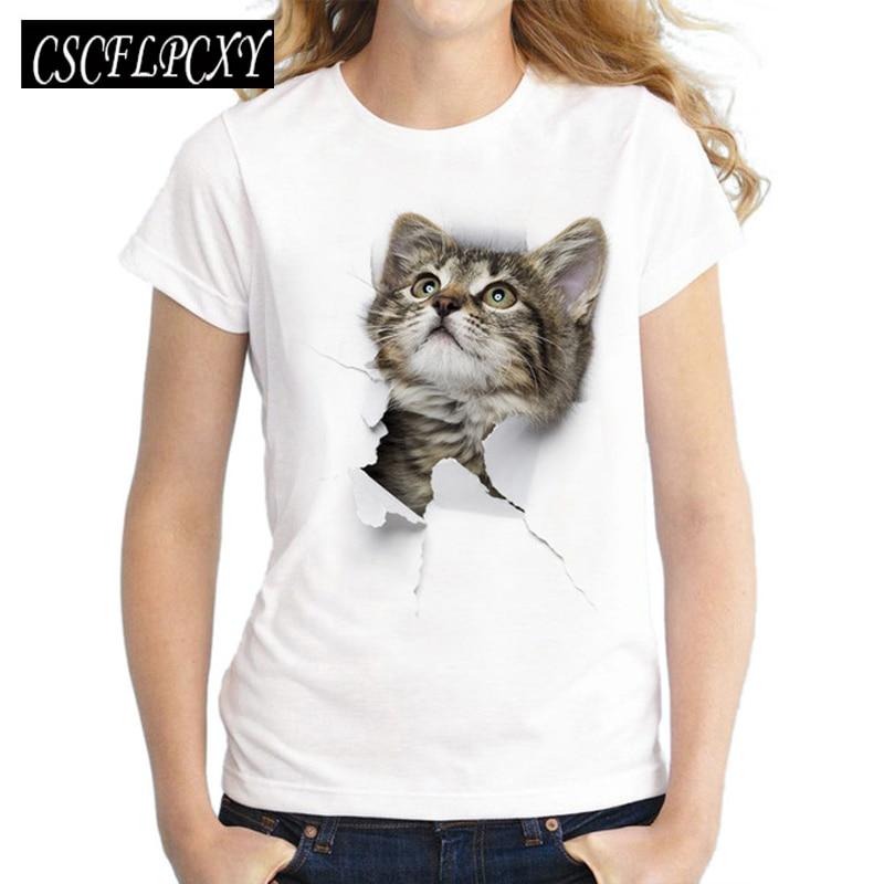 2017 Sommer Frech Katze 3d Schöne T Shirt Frauen Druck Originalität Oansatz Kurzarm T-shirt Tops T Gutes Renommee Auf Der Ganzen Welt