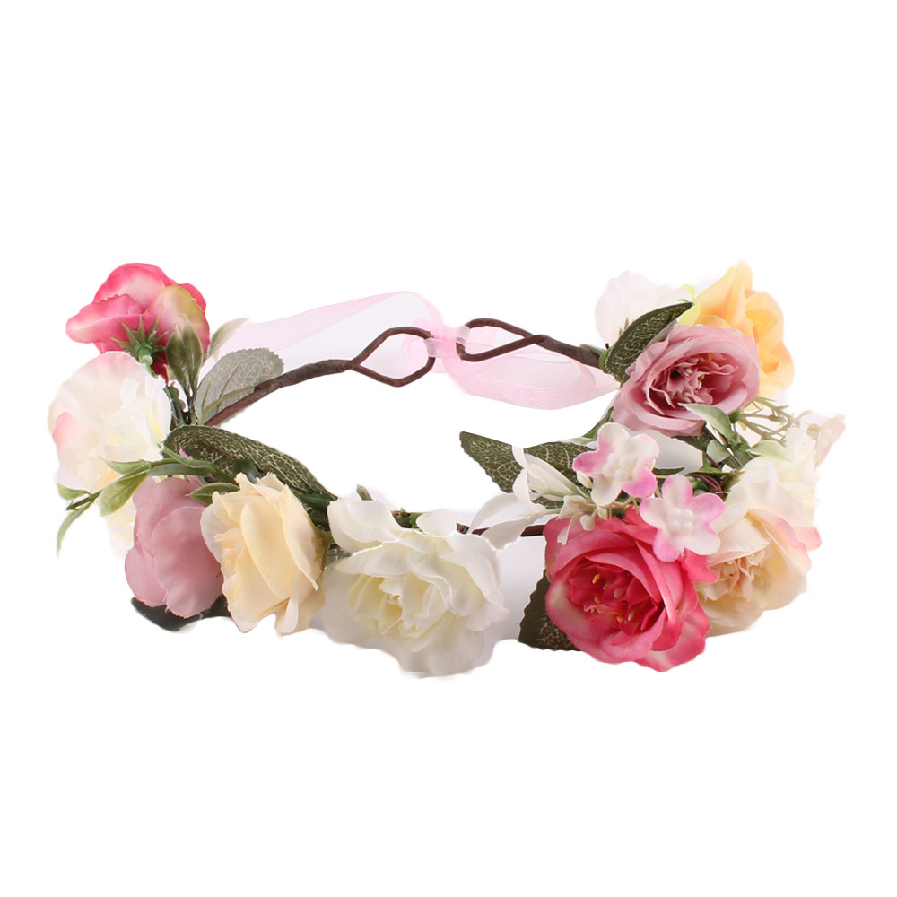 Kid Head Wreath Wedding Garland Forehead Beach Flower Crown for Girls Hair Headband Hair Rose Children Band Wholesale metting joura vintage bohemian ethnic tribal flower print stone handmade elastic headband hair band design hair accessories