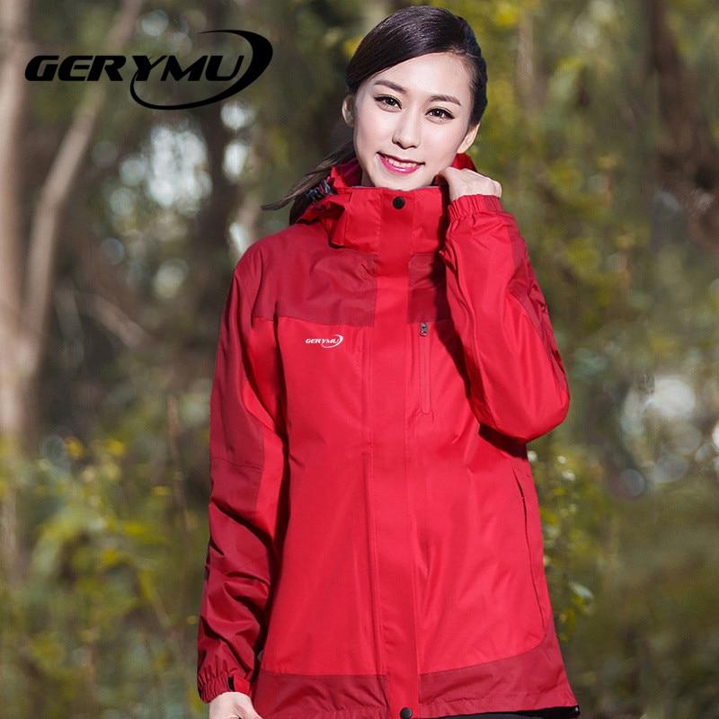 Outdoor women wnowboard Winter 2-1 soft shell waterproof windbreaker coat hiking hunting camp climbing ski travel jacket