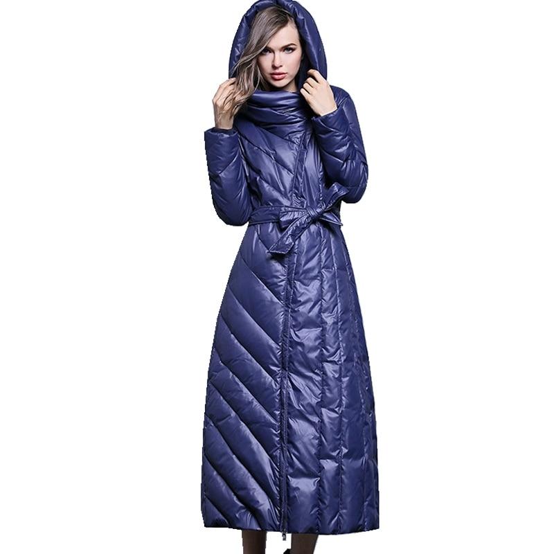 (TopFurMall)European Autumn Winter Women Parkas   Down     Coats   With Hoody Lady X-Long Slim Outwear Overcoat Plus Size LF5148
