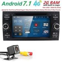 Android 7.1 2din Coche reproductor de dvd Para Ford Mondeo s-max Focus C-MAX Fiesta Galaxy Forma Fusion 4 CORE PANTALLA radio volante