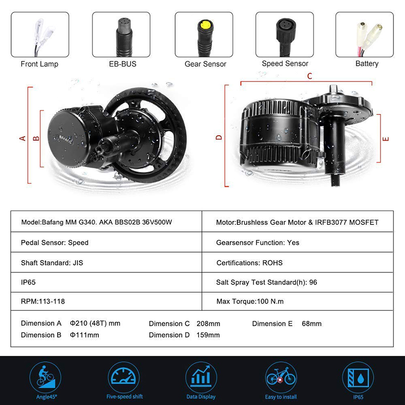 Flash Deal Bafang BBS02B 36V 500W Mid Drive Motor Bike Electric Bicycle Conversion Kits 8fun BBS02 44T/46T/48T/52T Central Engine 1