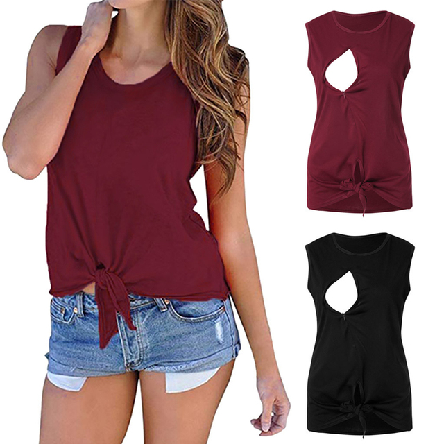 Women Maternity Clothes Pregnant Solid O-neck Vest T-shirt Nursing Breastfeeding Clothes Embarazada Sleeveless Tops Summer 2019