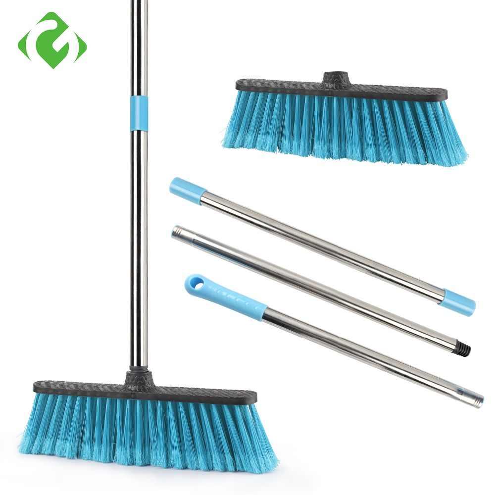 Balai de nettoyage du sol avec manche Long réglable, laveur de poils  raides, pour le nettoyage salle de bain, cuisine et cour