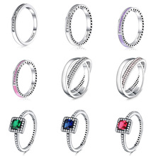 925 Silver Ring Charm Purple/Pink/White Enamel Square Crystal Finger Rings For Women Jewelry