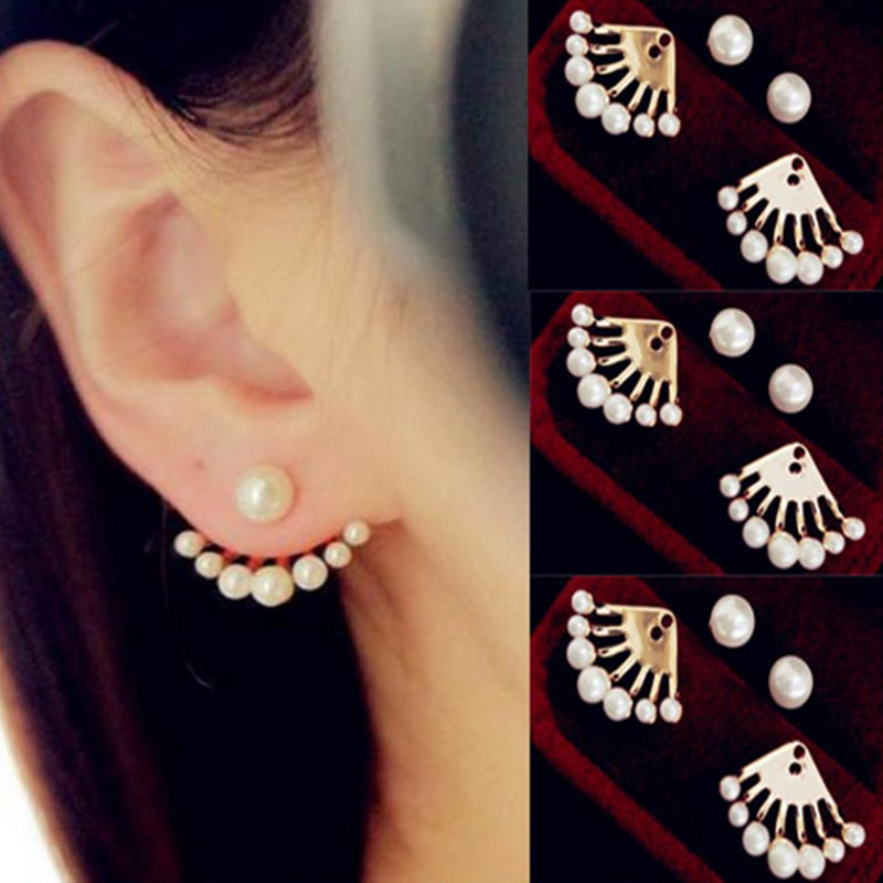 Fashion Front and Back Earrings Pearl Sweet Girls Stud earring Exquisite High Quality Earring for women #ER093