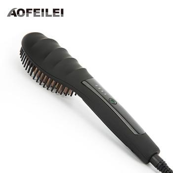 Ceramic Hair Straightener Brush Comb Fast Heating Electric Hair Straightening Brush Iron AOFEILEI straight hair comb brush цена 2017
