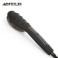 Cheap price Ceramic Hair Straightener Brush Comb Fast Heating Electric Hair Straightening Brush Iron AOFEILEI straight hair comb brush