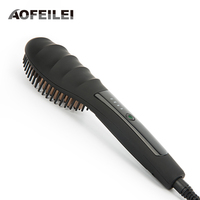 AOFEILEI Ceramic Hair Straightener Brush Comb Fast Heating Electric Hair Straightening Brush Iron LCD Digital Display