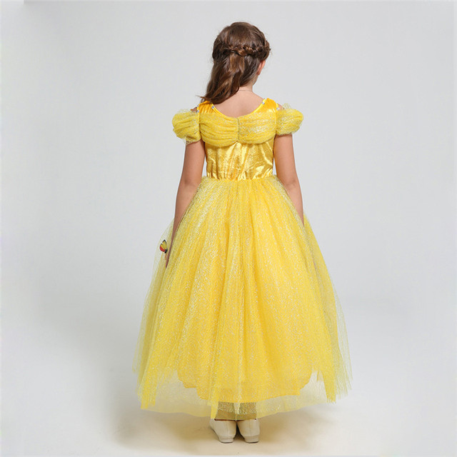 belle dress 2 12 yrs girls cinderella dresses girls butterfly clothing children halloween clothes teenage girls cartoon dress