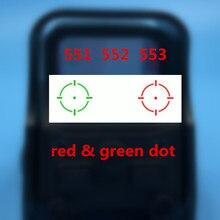 Mira holográfica de punto rojo y verde para pistola de Airsoft, 551, 552, 553, punto rojo, mira para Rifle con montaje de riel de 20mm