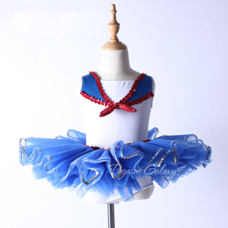 Girls Stage Show Swan Lake Ballet Costume Children Navy Style Ballet Tutu Dance Wear Women Sequins Ballet Dresses Adult Leotard