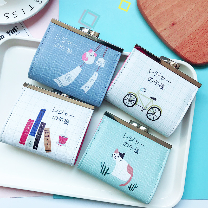 New Cartoon Coin Purse Small Money Bags for Women Lady Children Cute Buckle Short Coins Wallets Mini Purse Pouch