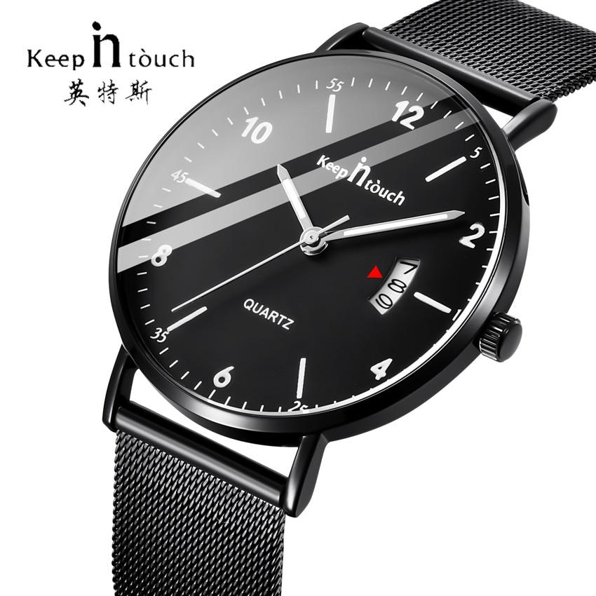 KEEP IN TOUCH Mens Watches Top Brand Luxury Quartz Men Watch Mesh Band Calendar Ultra Thin Clock Male Dress Relogio Masculino