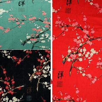 Japon çiçek Kumaş Ile Altın Diy Geri Boyama Erik çiçekleri Baskı
