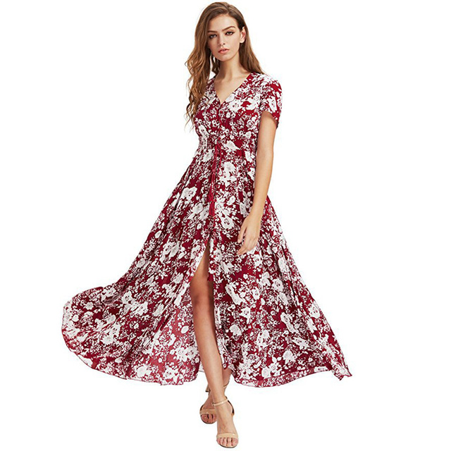 53ce4e46b84e Multicolor Floral Print Buttons Split Front Summer Beach Fit And Flare Boho Maxi  Dress Retro Women Vacation V Neck Long Dress