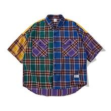 Vintage Patchwork 2019 Spring Summer Harajuku Short sleeve Funny Plaid Shirt oversized Loose Men shirt Cotton street wear