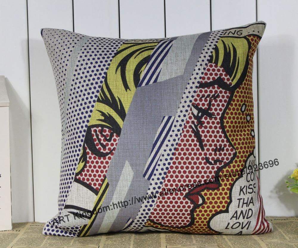 Creative ART #02 Cartoon cotton Cushion cover Linen pillow cover for Car Office Home Decor Sofa Cushions 45*45cm