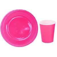 16pcs Solid Paper 8 Plates+8 Cups Set,Birthday Wedding Party Disposable Tableware, Dinnerware dishes,Microwaved
