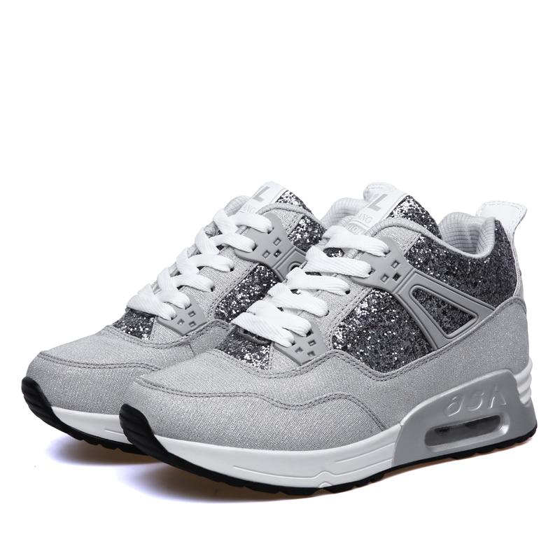 Sapato Tenis Casual Negro Femenino Altura Aumento Mujer Plataforma Zapatos Oscuro gris gris De Zapatillas 2018 Planos PSxq4aw0