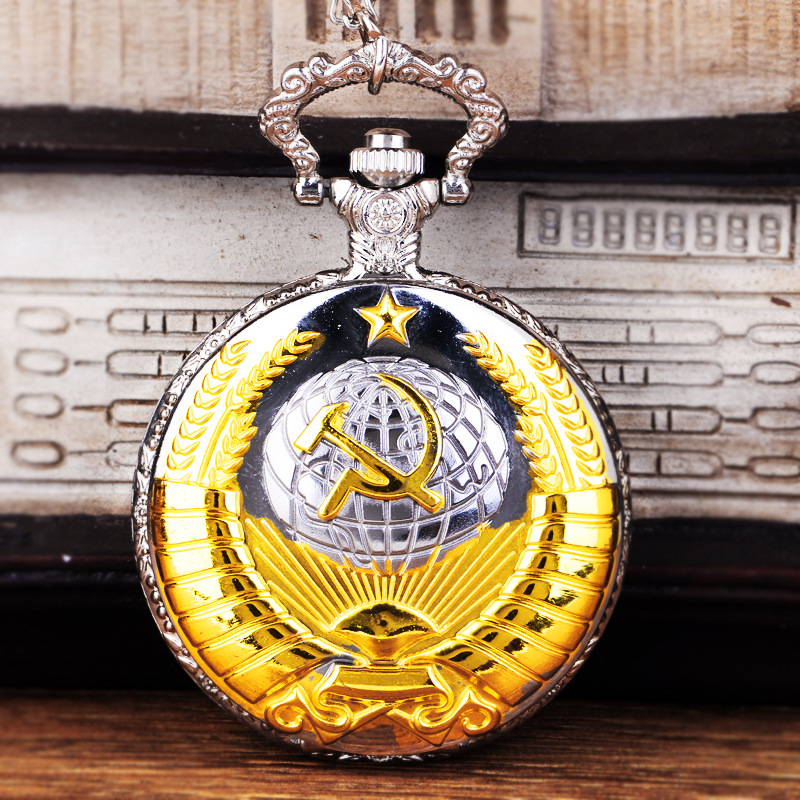Women Men Vintage Fob&Pocket Watch USSR Soviet Badges Sickle Hammer Pocket Watch Necklace Pendant Whit Chain Retro Clock Gift