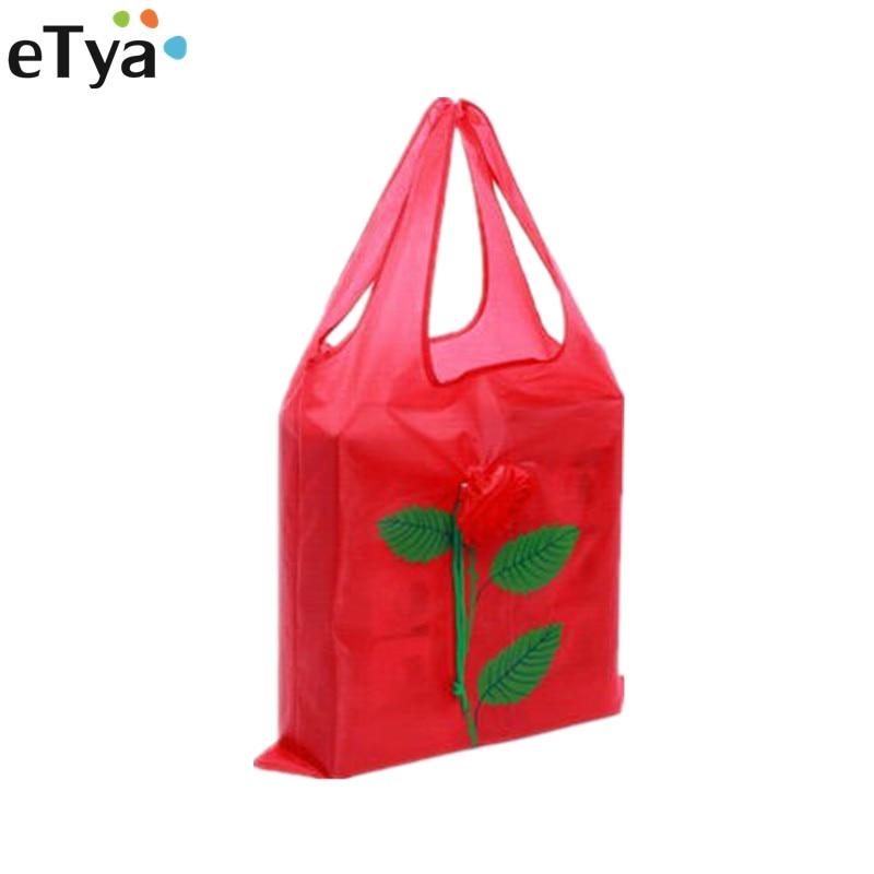 ETya 1PCS Fashion Shopping Bag Women Eco Reusable Folding Rose Flowers Drawstring Tote Bag Travel Grocery Shopper Bags