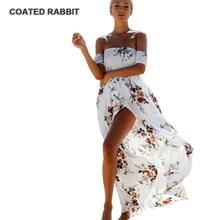 f95c06ce3b92 Revestido de conejo estampado floral ruffles gasa maxi vestidos Slash  cuello dividida playa del verano backless