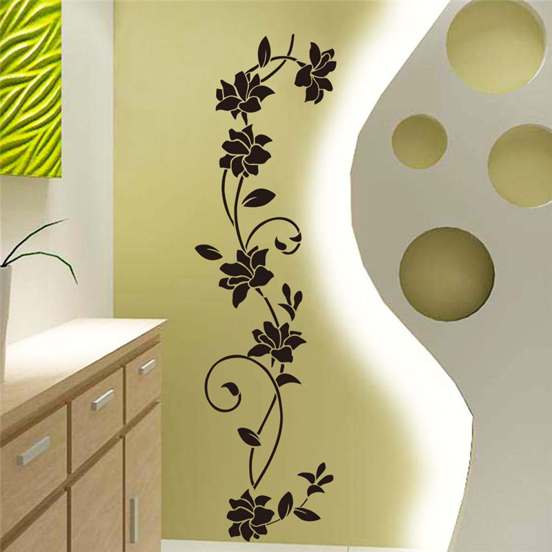 Flower Vine Wall Stickers Refrigerator Window Cupboard Home - Wall decals in pakistanblack flowers removable wall stickers wall decals mural home art